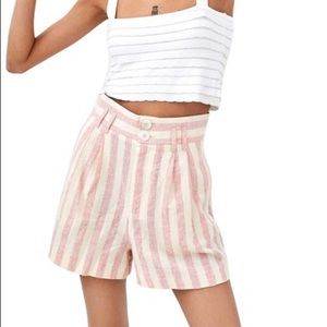 Zara Pink Striped High Waisted Bermuda Shorts